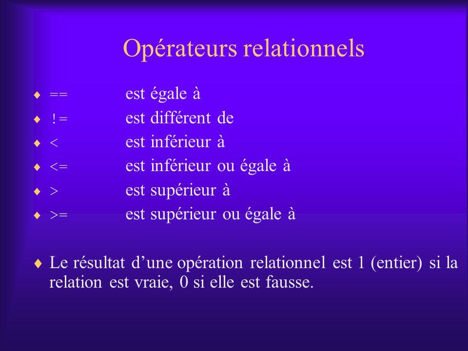 Opérateurs relationnels == est égale à != est différent de < est inférieur à <= est inférieur ou égale à > est supérieur à >= est supérieur ou égale à Le résultat dune opération relationnel est 1 (entier) si la relation est vraie, 0 si elle est fausse.