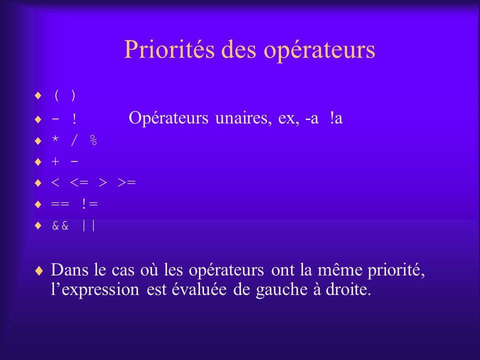 Priorités des opérateurs ( ) - ! Opérateurs unaires, ex, -a !a * / % + - >= == != && || Dans le cas où les opérateurs ont la même priorité, lexpressio