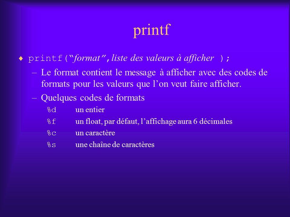 printf printf( format, liste des valeurs à afficher ); –Le format contient le message à afficher avec des codes de formats pour les valeurs que lon veut faire afficher.