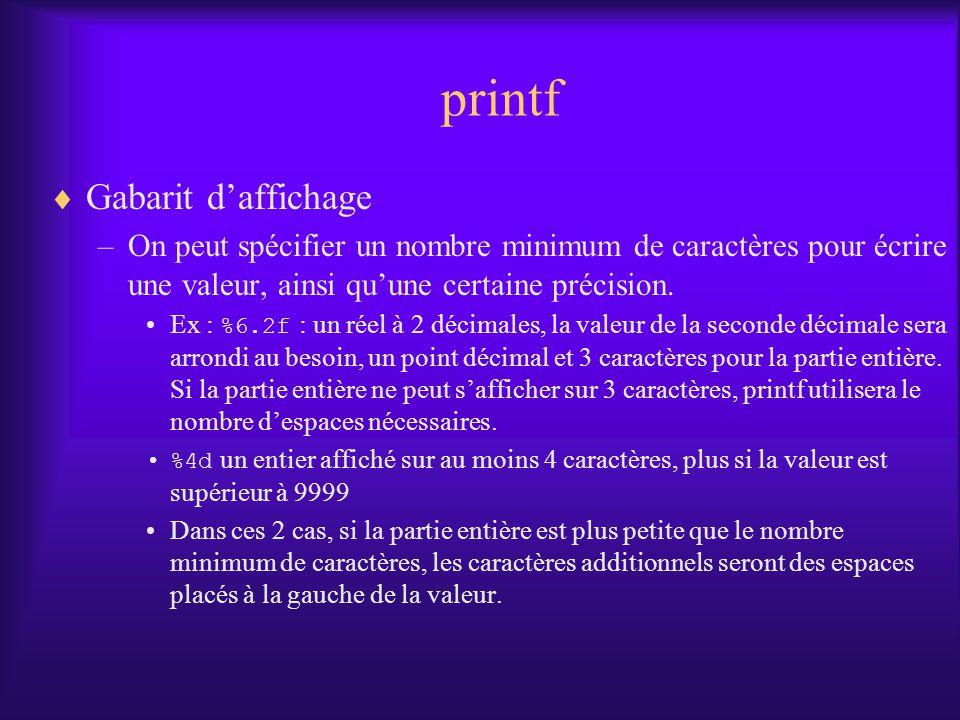 printf Gabarit daffichage –On peut spécifier un nombre minimum de caractères pour écrire une valeur, ainsi quune certaine précision. Ex : %6.2f : un r