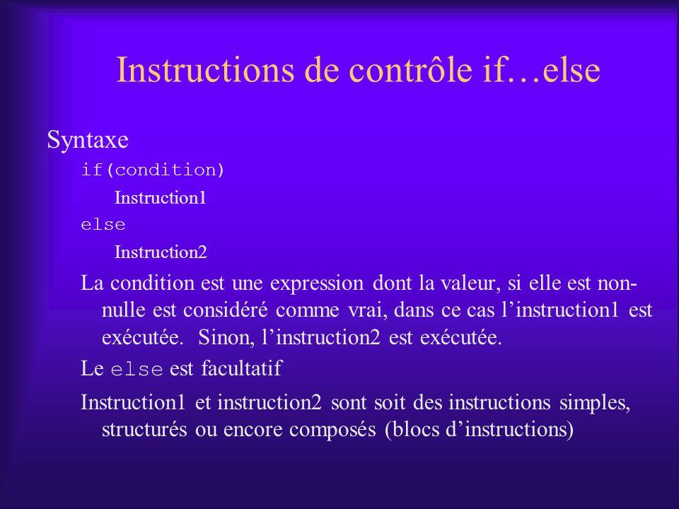 Instructions de contrôle if…else Syntaxe if(condition) Instruction1 else Instruction2 La condition est une expression dont la valeur, si elle est non- nulle est considéré comme vrai, dans ce cas linstruction1 est exécutée.