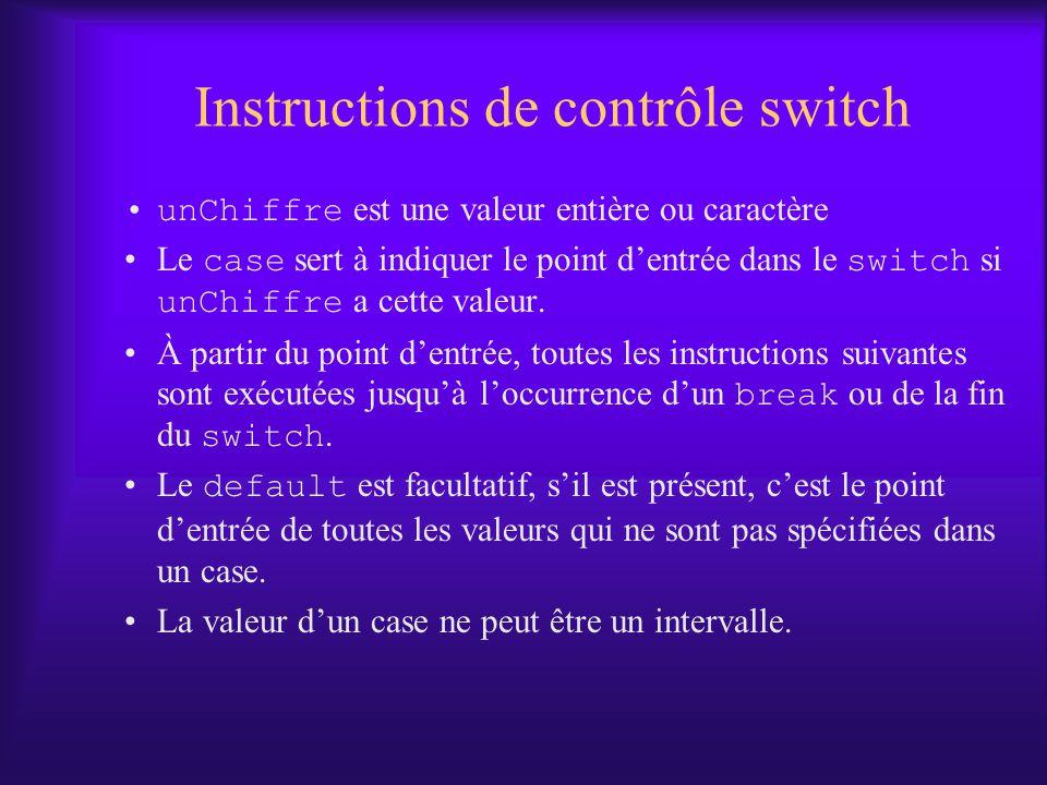 Instructions de contrôle switch unChiffre est une valeur entière ou caractère Le case sert à indiquer le point dentrée dans le switch si unChiffre a cette valeur.