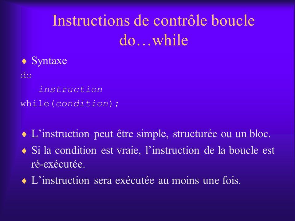 Instructions de contrôle boucle do…while Syntaxe do instruction while(condition); Linstruction peut être simple, structurée ou un bloc.