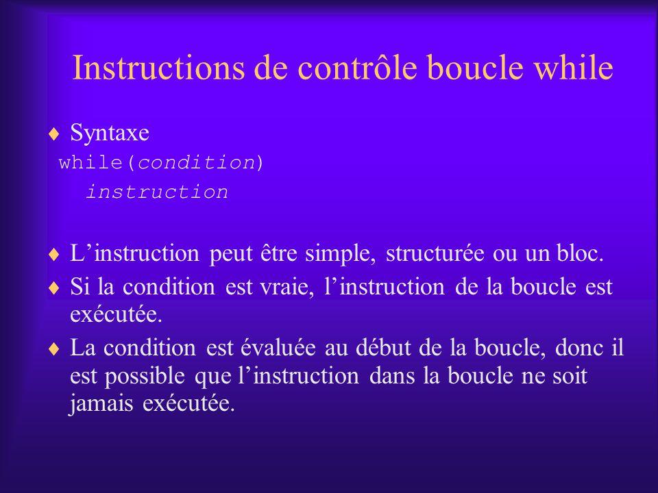 Instructions de contrôle boucle while Syntaxe while(condition) instruction Linstruction peut être simple, structurée ou un bloc. Si la condition est v