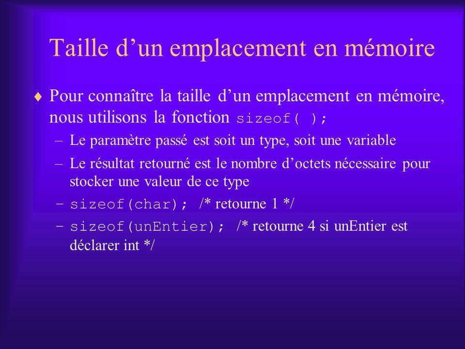 Taille dun emplacement en mémoire Pour connaître la taille dun emplacement en mémoire, nous utilisons la fonction sizeof( ); –Le paramètre passé est soit un type, soit une variable –Le résultat retourné est le nombre doctets nécessaire pour stocker une valeur de ce type –sizeof(char); /* retourne 1 */ –sizeof(unEntier); /* retourne 4 si unEntier est déclarer int */