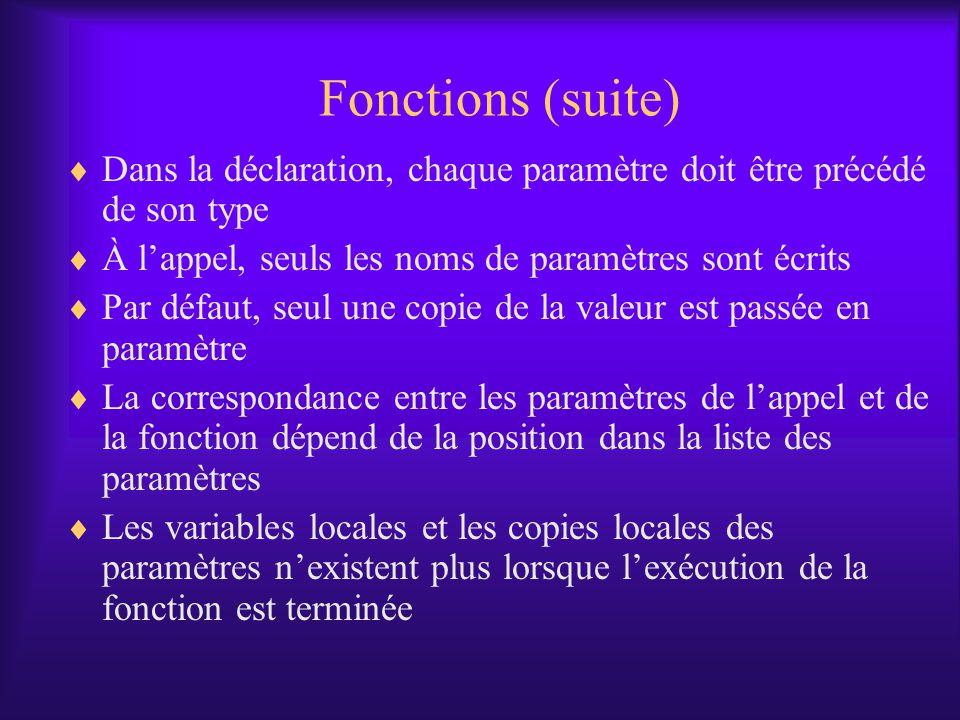 Fonctions (suite) Dans la déclaration, chaque paramètre doit être précédé de son type À lappel, seuls les noms de paramètres sont écrits Par défaut, seul une copie de la valeur est passée en paramètre La correspondance entre les paramètres de lappel et de la fonction dépend de la position dans la liste des paramètres Les variables locales et les copies locales des paramètres nexistent plus lorsque lexécution de la fonction est terminée
