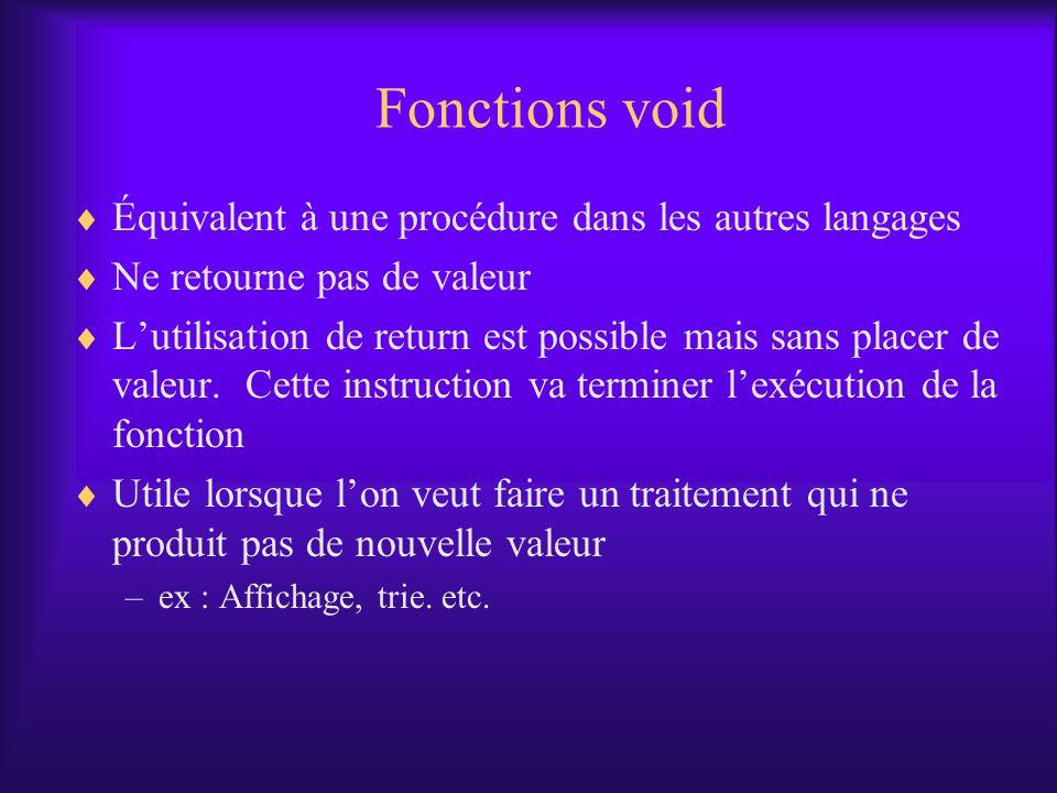 Fonctions void Équivalent à une procédure dans les autres langages Ne retourne pas de valeur Lutilisation de return est possible mais sans placer de valeur.