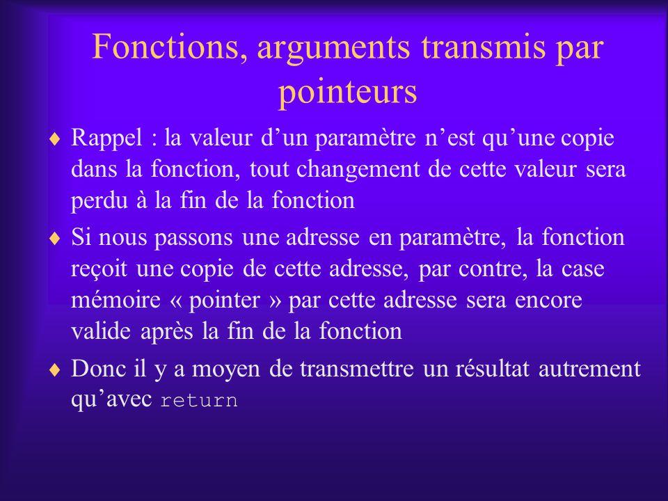 Fonctions, arguments transmis par pointeurs Rappel : la valeur dun paramètre nest quune copie dans la fonction, tout changement de cette valeur sera p