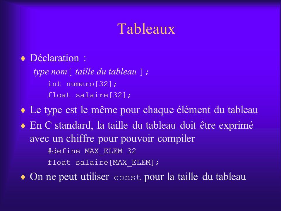 Tableaux Déclaration : type nom [ taille du tableau ]; int numero[32]; float salaire[32]; Le type est le même pour chaque élément du tableau En C stan