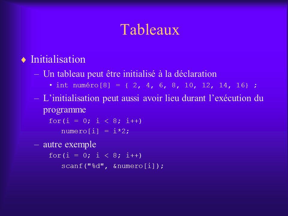 Tableaux Initialisation –Un tableau peut être initialisé à la déclaration int numéro[8] = { 2, 4, 6, 8, 10, 12, 14, 16} ; –Linitialisation peut aussi avoir lieu durant lexécution du programme for(i = 0; i < 8; i++) numero[i] = i*2; –autre exemple for(i = 0; i < 8; i++) scanf( %d , &numero[i]);