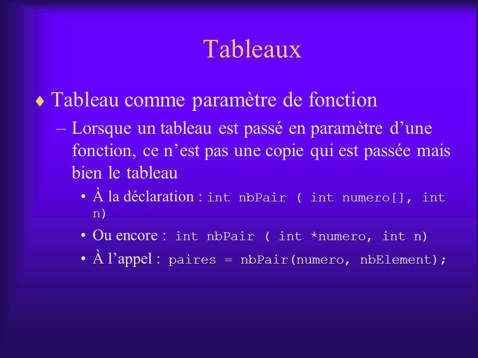 Tableaux Tableau comme paramètre de fonction –Lorsque un tableau est passé en paramètre dune fonction, ce nest pas une copie qui est passée mais bien le tableau À la déclaration : int nbPair ( int numero[], int n) Ou encore : int nbPair ( int *numero, int n) À lappel : paires = nbPair(numero, nbElement);