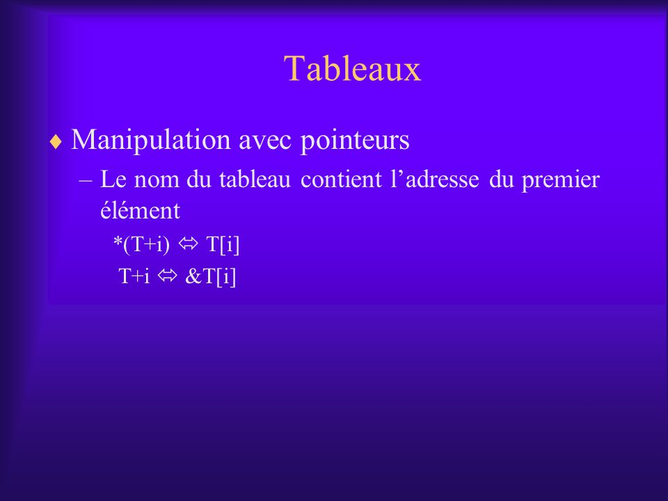 Tableaux Manipulation avec pointeurs –Le nom du tableau contient ladresse du premier élément *(T+i) T[i] T+i &T[i]