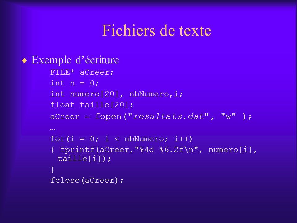 Fichiers de texte Exemple décriture FILE* aCreer; int n = 0; int numero[20], nbNumero,i; float taille[20]; aCreer = fopen( resultats.dat , w ); … for(i = 0; i < nbNumero; i++) { fprintf(aCreer, %4d %6.2f\n , numero[i], taille[i]); } fclose(aCreer);