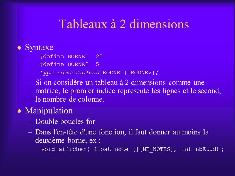 Tableaux à 2 dimensions Syntaxe #define BORNE1 25 #define BORNE2 5 type nomDuTableau[BORNE1][BORNE2] ; –Si on considère un tableau à 2 dimensions comme une matrice, le premier indice représente les lignes et le second, le nombre de colonne.