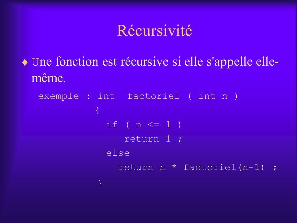 Récursivité U ne fonction est récursive si elle s'appelle elle- même. exemple : int factoriel ( int n ) { if ( n <= 1 ) return 1 ; else return n * fac