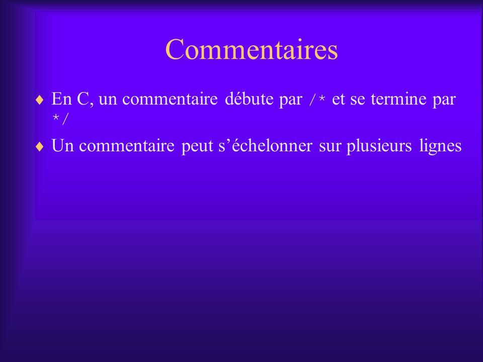 Commentaires En C, un commentaire débute par /* et se termine par */ Un commentaire peut séchelonner sur plusieurs lignes
