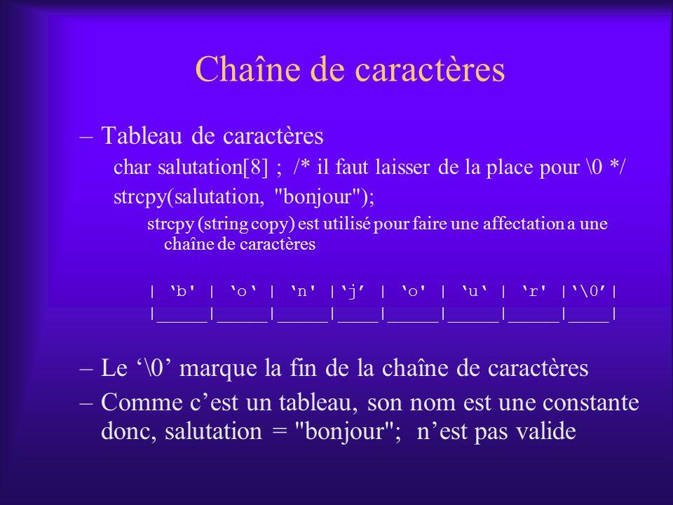 Chaîne de caractères –Tableau de caractères char salutation[8] ; /* il faut laisser de la place pour \0 */ strcpy(salutation,