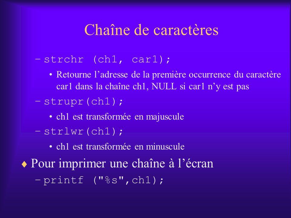 Chaîne de caractères –strchr (ch1, car1); Retourne ladresse de la première occurrence du caractère car1 dans la chaîne ch1, NULL si car1 ny est pas –strupr(ch1); ch1 est transformée en majuscule –strlwr(ch1); ch1 est transformée en minuscule Pour imprimer une chaîne à lécran –printf ( %s ,ch1);