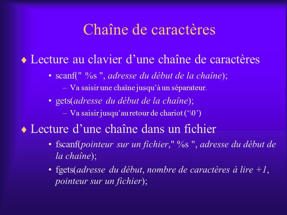 Chaîne de caractères Lecture au clavier dune chaîne de caractères scanf(