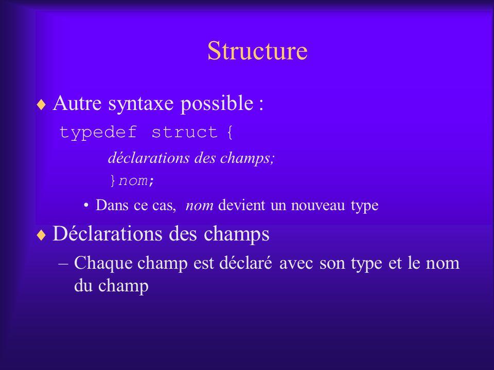 Structure Autre syntaxe possible : typedef struct { déclarations des champs; }nom; Dans ce cas, nom devient un nouveau type Déclarations des champs –Chaque champ est déclaré avec son type et le nom du champ
