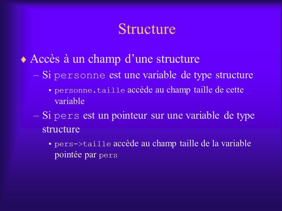 Structure Accès à un champ dune structure –Si personne est une variable de type structure personne.taille accède au champ taille de cette variable –Si pers est un pointeur sur une variable de type structure pers->taille accède au champ taille de la variable pointée par pers