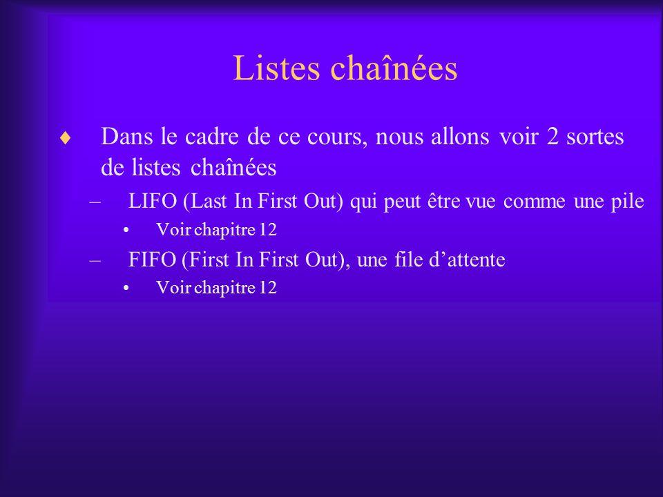 Listes chaînées Dans le cadre de ce cours, nous allons voir 2 sortes de listes chaînées –LIFO (Last In First Out) qui peut être vue comme une pile Voir chapitre 12 –FIFO (First In First Out), une file dattente Voir chapitre 12
