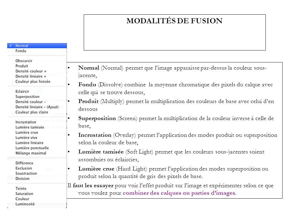MODALITÉS DE FUSION Normal (Normal) permet que limage apparaisse par-dessus la couleur sous- jacente, Fondu (Dissolve) combine la moyenne chromatique