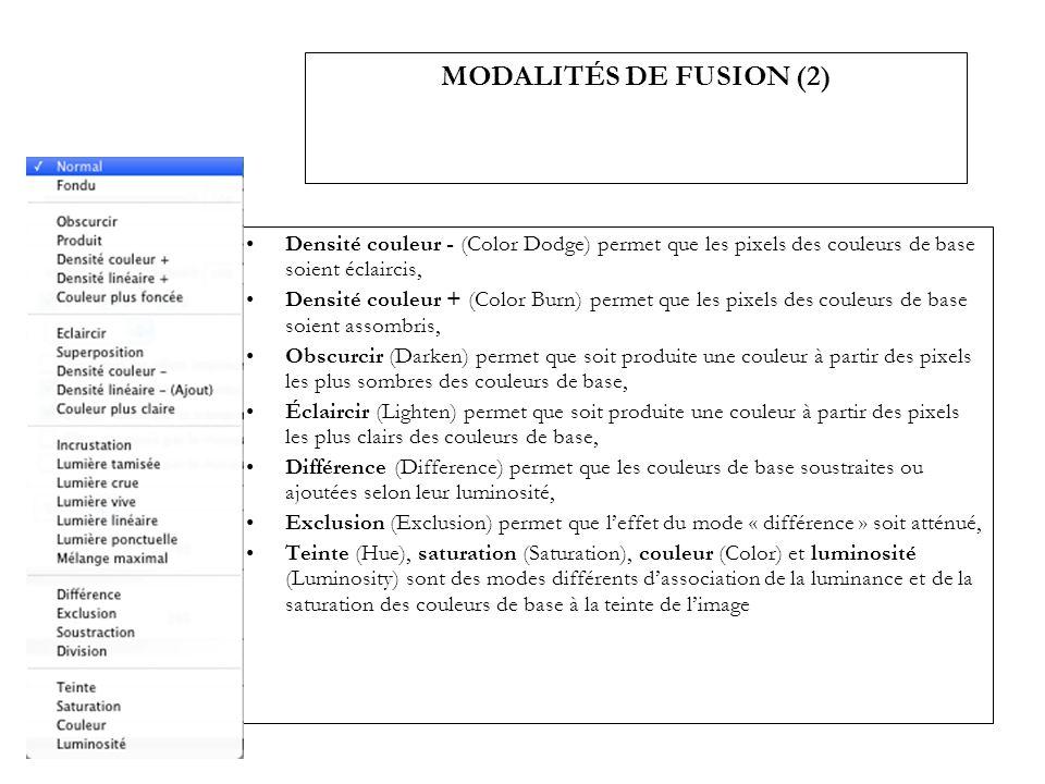 MODALITÉS DE FUSION (2) Densité couleur - (Color Dodge) permet que les pixels des couleurs de base soient éclaircis, Densité couleur + (Color Burn) pe