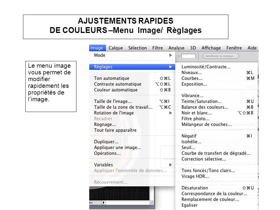 AJUSTEMENTS RAPIDES DE COULEURS –Menu Image/ Règlages Le menu image vous permet de modifier rapidement les propriétés de limage.