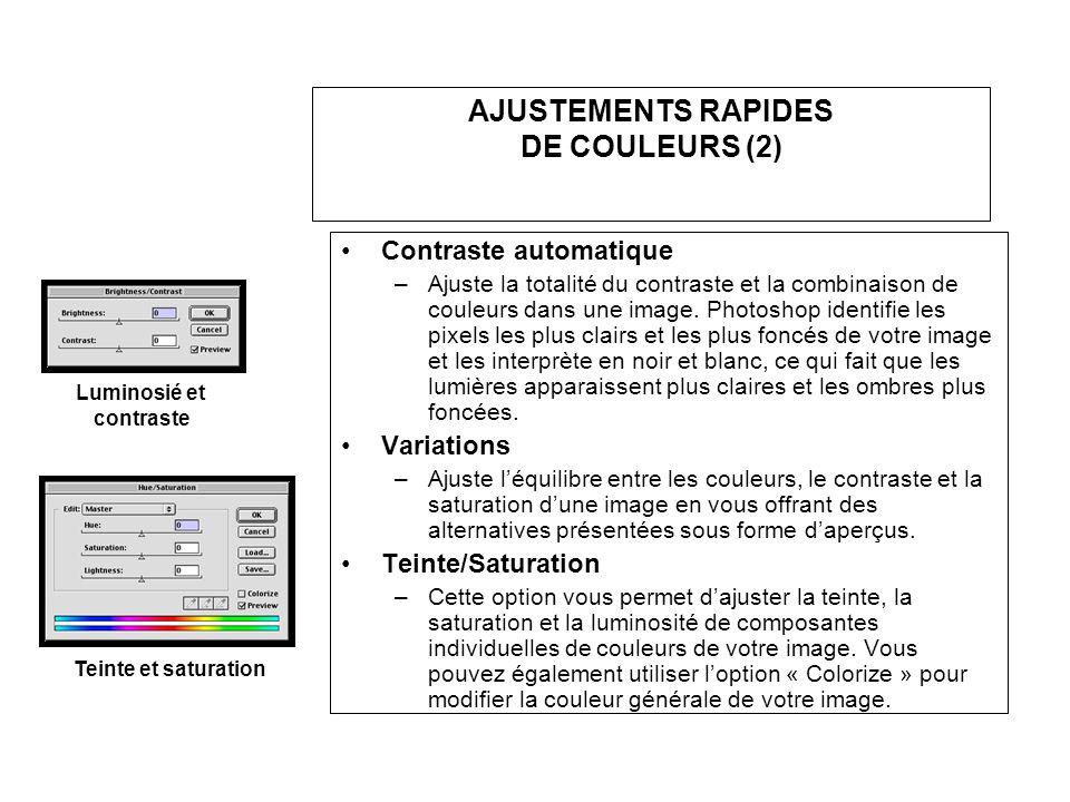 AJUSTEMENTS RAPIDES DE COULEURS (2) Contraste automatique –Ajuste la totalité du contraste et la combinaison de couleurs dans une image. Photoshop ide
