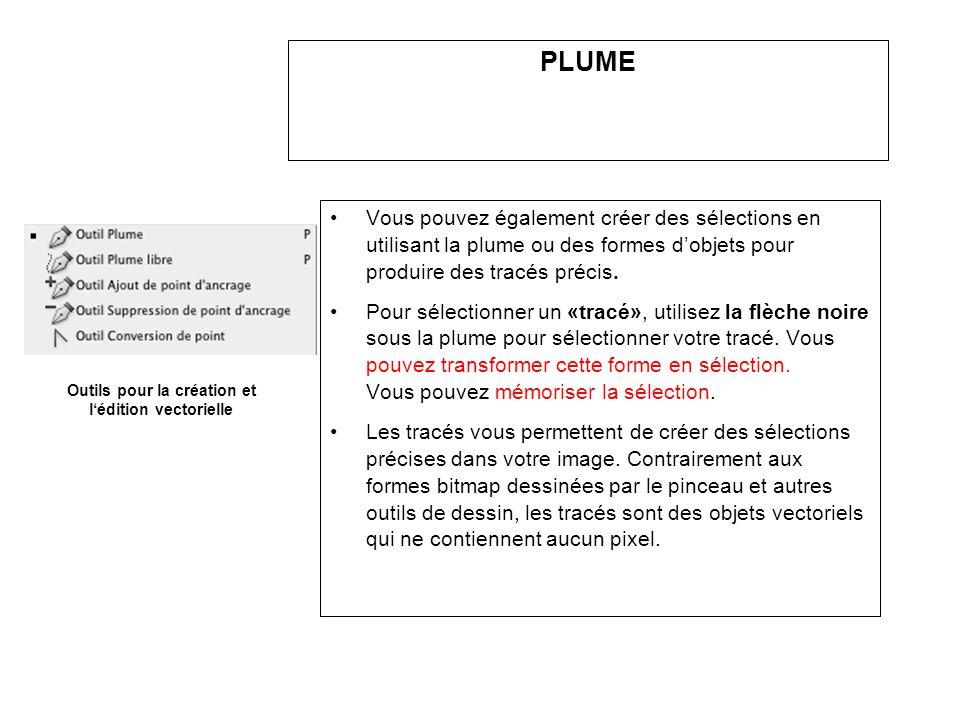 PLUME Vous pouvez également créer des sélections en utilisant la plume ou des formes dobjets pour produire des tracés précis. Pour sélectionner un «tr
