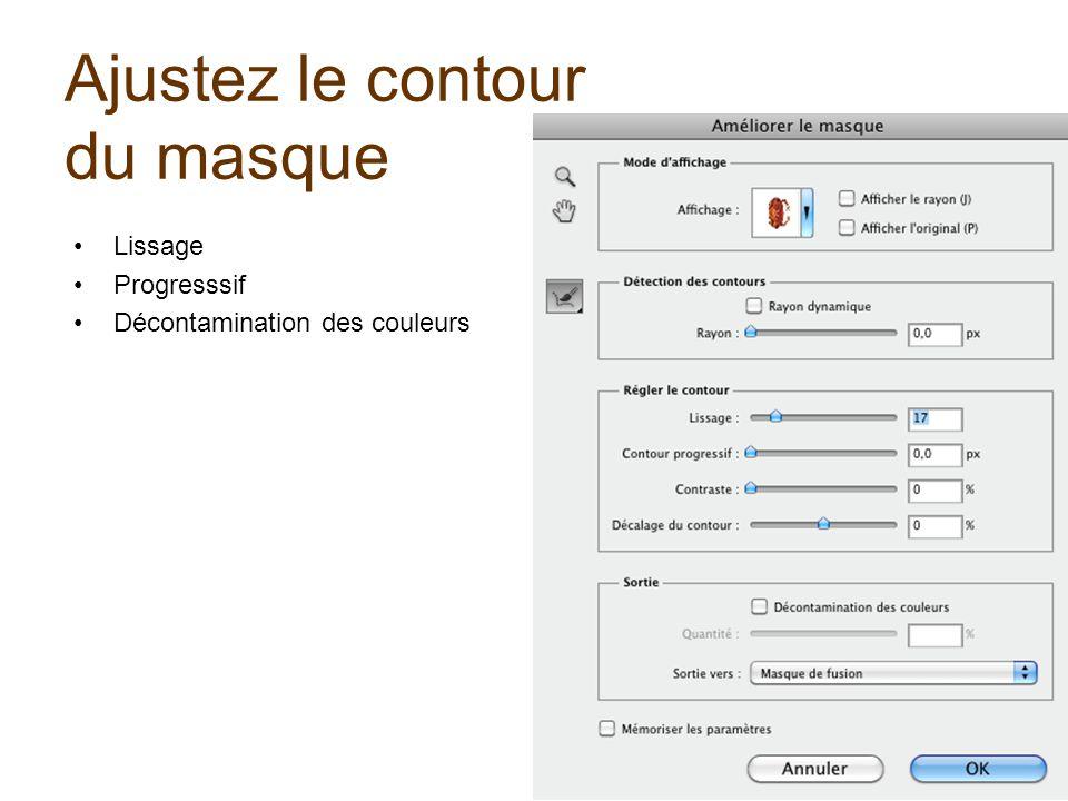 Ajustez le contour du masque Lissage Progresssif Décontamination des couleurs