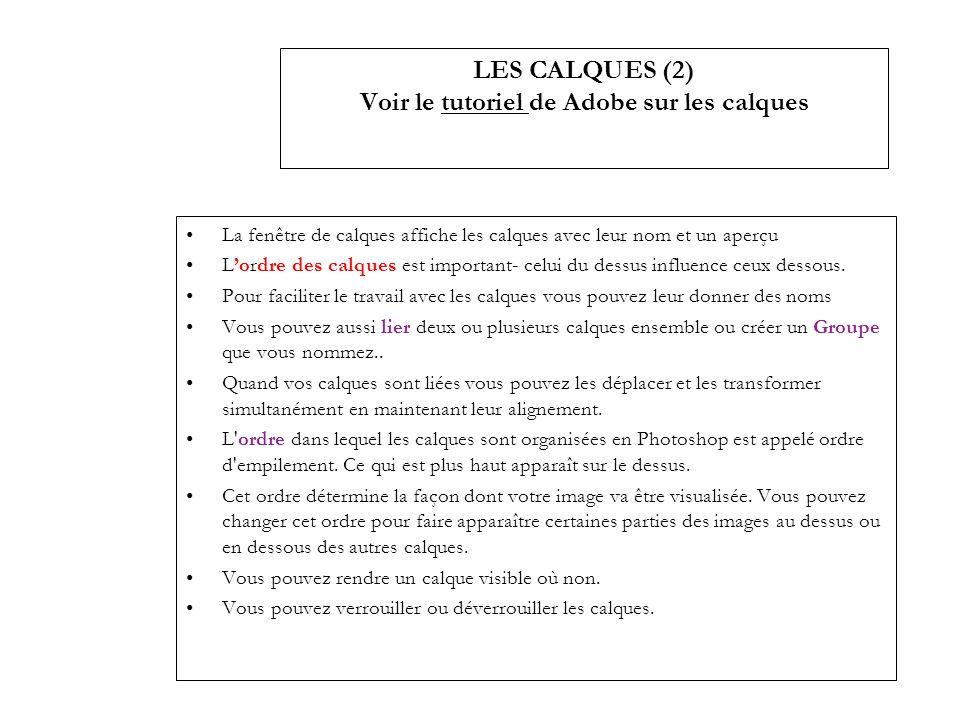 LES CALQUES (2) Voir le tutoriel de Adobe sur les calquestutoriel La fenêtre de calques affiche les calques avec leur nom et un aperçu Lordre des calq