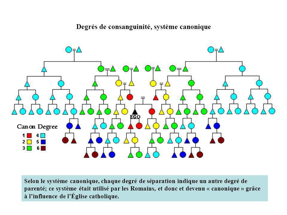 Degrés de consanguinité, système canonique B.