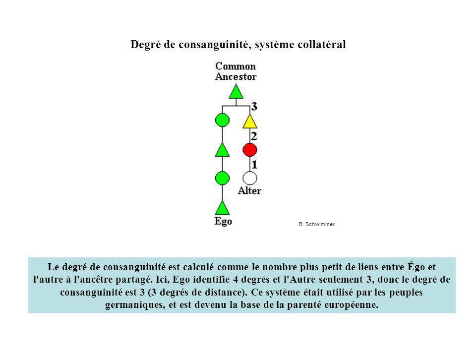 Degré de consanguinité, système collatéral Le degré de consanguinité est calculé comme le nombre plus petit de liens entre Égo et l autre à l ancêtre partagé.