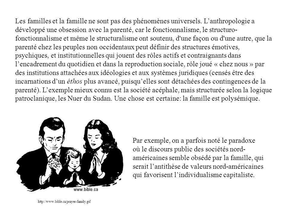 Les familles et la famille ne sont pas des phénomènes universels.