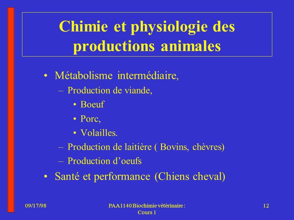 09/17/9812PAA1140 Biochimie vétérinaire : Cours 1 Chimie et physiologie des productions animales Métabolisme intermédiaire, –Production de viande, Boeuf Porc, Volailles.