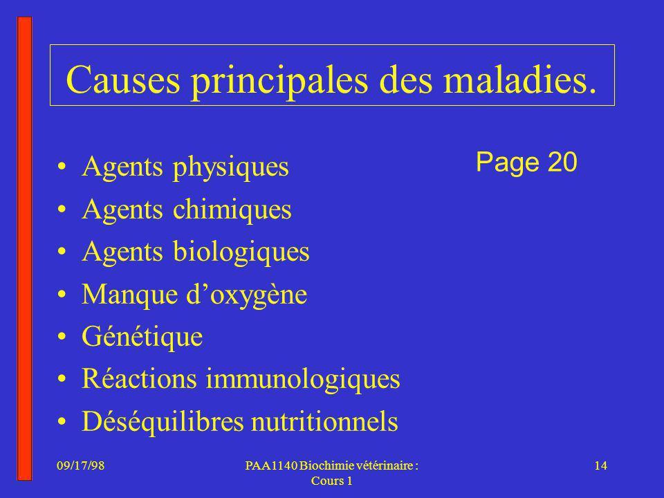 09/17/9814PAA1140 Biochimie vétérinaire : Cours 1 Causes principales des maladies.