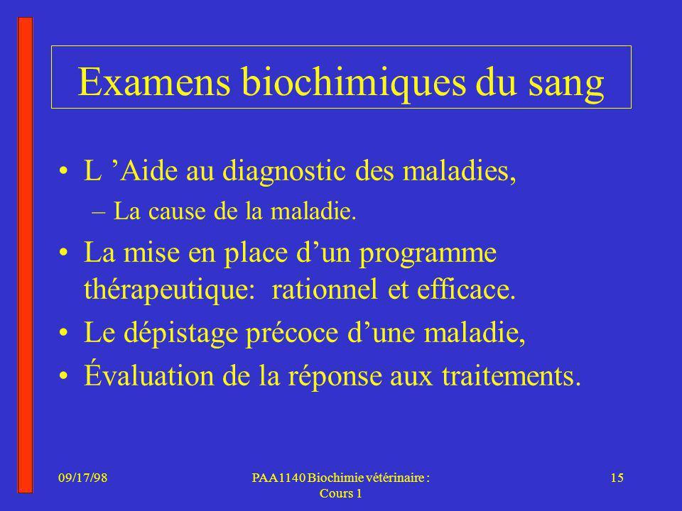 09/17/9815PAA1140 Biochimie vétérinaire : Cours 1 Examens biochimiques du sang L Aide au diagnostic des maladies, –La cause de la maladie.