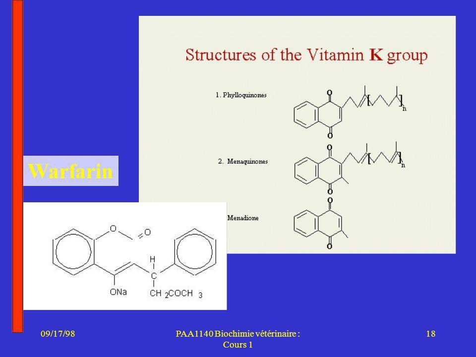 09/17/9818PAA1140 Biochimie vétérinaire : Cours 1 Warfarin