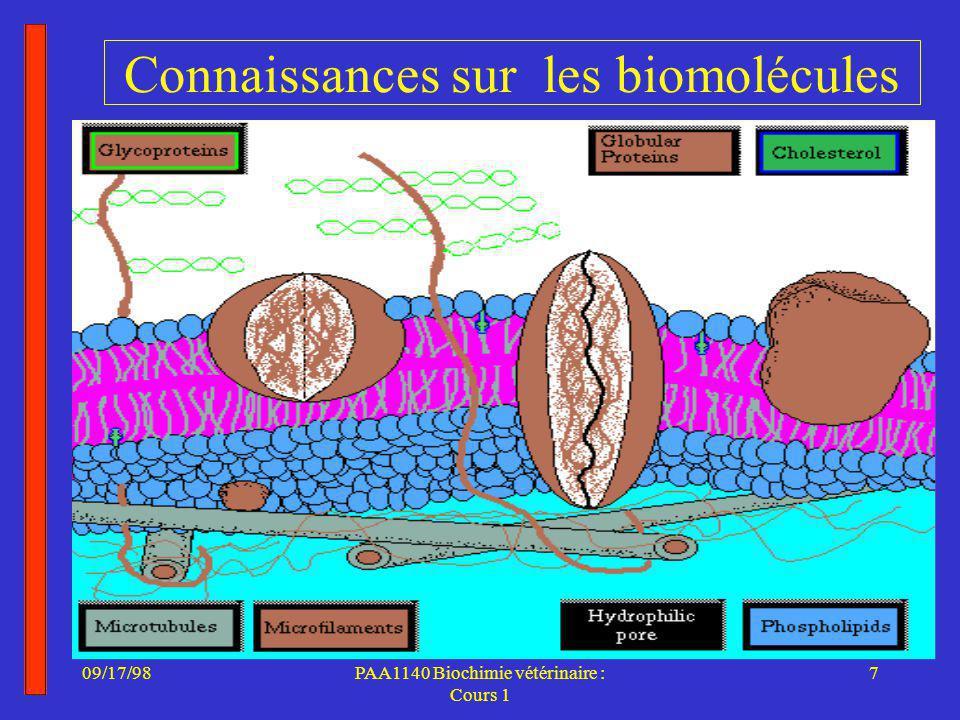 09/17/987PAA1140 Biochimie vétérinaire : Cours 1 Connaissances sur les biomolécules