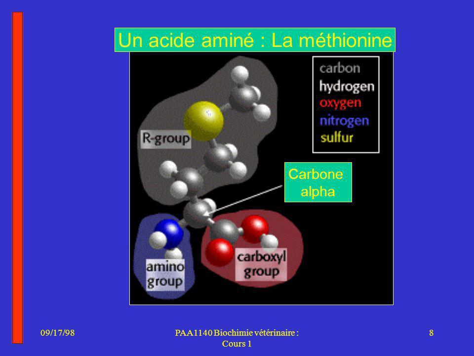 09/17/988PAA1140 Biochimie vétérinaire : Cours 1 Un acide aminé : La méthionine Carbone alpha