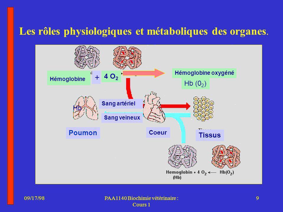 09/17/989PAA1140 Biochimie vétérinaire : Cours 1 Les rôles physiologiques et métaboliques des organes.