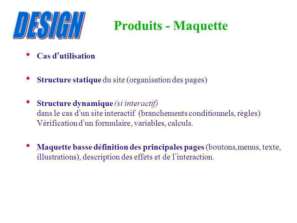 Produits - Maquette Cas d utilisation Structure statique du site (organisation des pages) Structure dynamique (si interactif) dans le cas d un site in