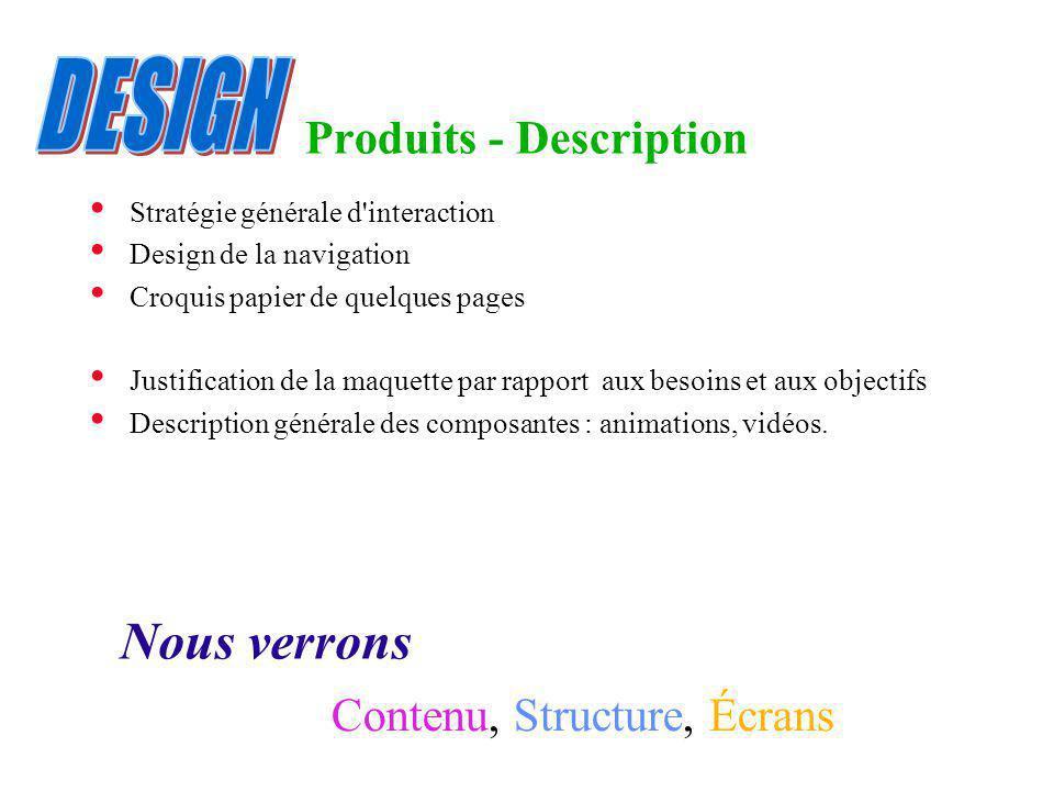 Produits - Description Stratégie générale d'interaction Design de la navigation Croquis papier de quelques pages Justification de la maquette par rapp