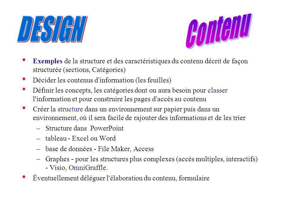 Exemples de la structure et des caractéristiques du contenu décrit de façon structurée (sections, Catégories) Décider les contenus d information (les