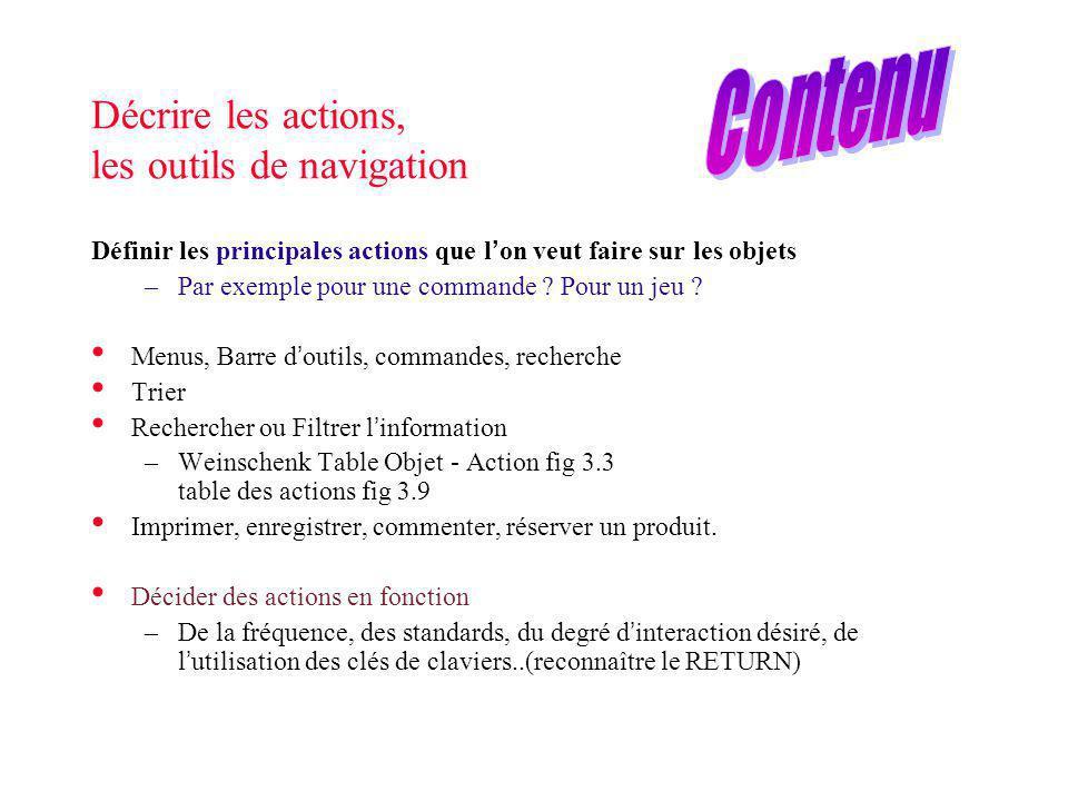 Décrire les actions, les outils de navigation Définir les principales actions que l on veut faire sur les objets –Par exemple pour une commande ? Pour