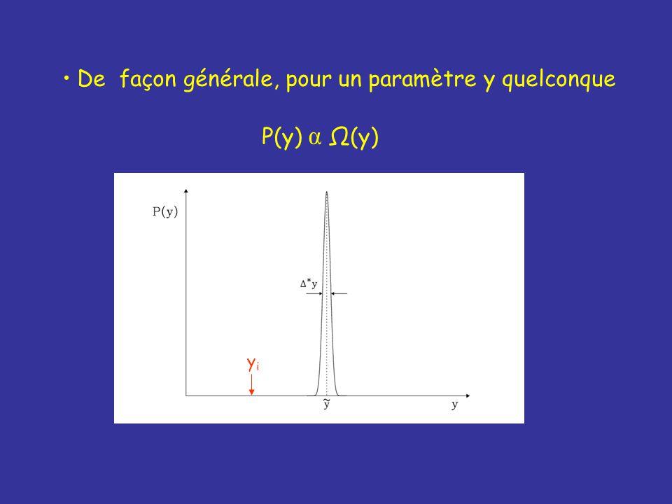 De façon générale, pour un paramètre y quelconque P(y) α Ω(y) yiyi