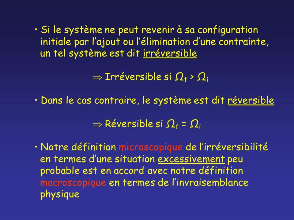 Si le système ne peut revenir à sa configuration initiale par lajout ou lélimination dune contrainte, un tel système est dit irréversible Irréversible si Ω f > Ω i Dans le cas contraire, le système est dit réversible Réversible si Ω f = Ω i Notre définition microscopique de lirréversibilité en termes dune situation excessivement peu probable est en accord avec notre définition macroscopique en termes de linvraisemblance physique