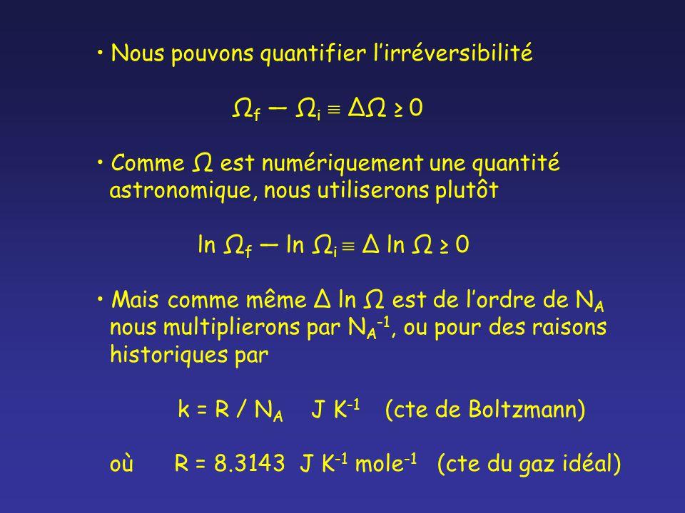 Nous pouvons quantifier lirréversibilité Ω f Ω i Ω 0 Comme Ω est numériquement une quantité astronomique, nous utiliserons plutôt ln Ω f ln Ω i ln Ω 0 Mais comme même ln Ω est de lordre de N A nous multiplierons par N A -1, ou pour des raisons historiques par k = R / N A J K -1 (cte de Boltzmann) où R = 8.3143 J K -1 mole -1 (cte du gaz idéal)